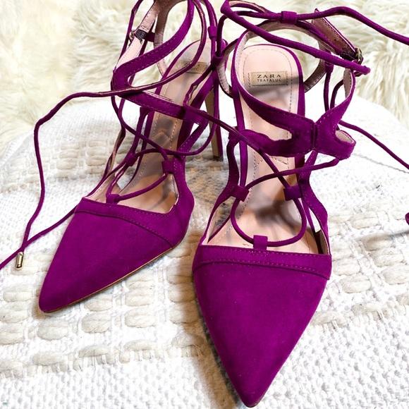 5551677fa56 Zara Trafaluc Magenta Pointed Toe Lace-up Heels